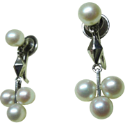 Art Deco Sterling Dangle Mikimoto Cultured Pearl Earrings; AA Grade!