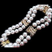 Estate 18K Double Strand MIKIMOTO Cultured Pearl Bracelet .60 Ct Diamonds!