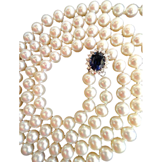 "Estate Sapphire & Diamonds Cultured Pearl Necklace!  Double Strand  33"" Total  7.5 – 7 mm Pearls!"