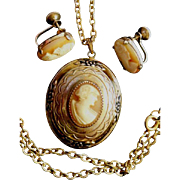 Very Early Coro Demi Parure Cameo Locket Necklace & Earrings!