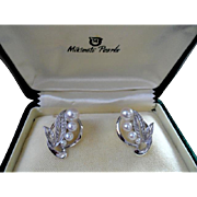 Estate Mikimoto Sterling Four Pearl Earrings! Grade AA!