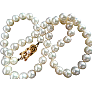 """Estate 7-6.7mm MIKIMOTO 16.25"""" Cultured Pearl Necklace 18K Gold – AA - Appraisal!"""