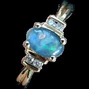 Vintage 10K Diamond & Blue Opal Ring, Size 9