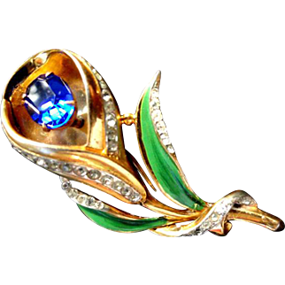 Gorgeous Coro Craft Sterling Vermeil Floral Fur Clip with Sapphire Blue Stone