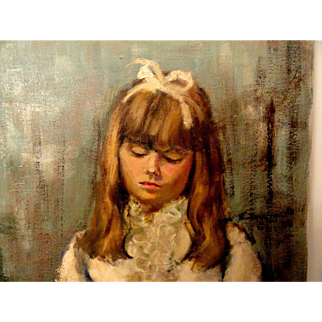 Shy Young Girl Original Oil Painting Vintage Retro 1970's Signed by the Artist