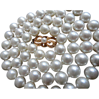 "Vintage 18K Mikimoto Cultured Pearls 7-6.5 mm & 18.5"" Long!"