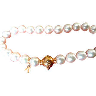 MIKIMOTO Limited Edition Diamond & 18K Cultured Pearl Breast Cancer Survivor Bracelet!