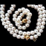 """Estate 18"""" Mikimoto Cultured Pearl Necklace!  18K Diamond Ball 1893 Clasp!  7.5-7.0mm!"""