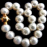 "Estate 7.25"" Mikimoto Cultured Pearl Bracelet!  18K Diamond Ball 1893 Clasp!  7.5-7.0mm!"