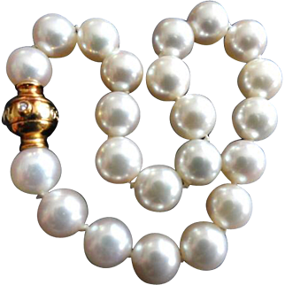 "Estate 7.25"" Mikimoto Cultured Pearl Bracelet!  18K Diamond Ball 1893 Clasp!  7.5-7.0mm!"