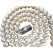 """Vintage 22"""" MIKIMOTO 6.5-6.0 mm Cultured Pearl Necklace.  Appraisal from BB&B 1993!"""