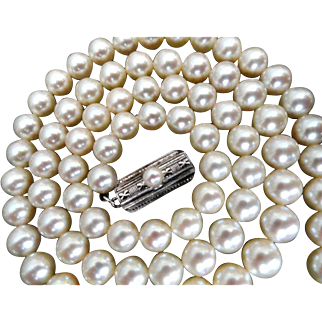 "Vintage 22"" MIKIMOTO 6.5-6.0 mm Cultured Pearl Necklace.  Appraisal from BB&B 1993!"