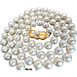 "Estate 18"" MIKIMOTO Cultured Pearl Necklace 18K Gold Clasp!  Princess length!"