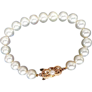 "Estate 18K MIKIMOTO Cultured Pearl Bracelet – 7.25"" Long!  8-7.5mm! Guarantee Cert. & Hangtag!"