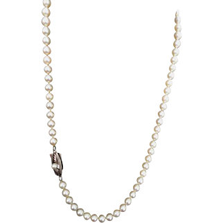 Estate Mikimoto Cultured Pearl Necklace!  Orig. Green Velvet Box! Sterling, 19+""