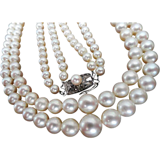 "Estate Mikimoto Cultured Pearl Double Strand Necklace! 30"" total Length!  Appraisal!"