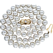 "Mikimoto Cultured Pearl Necklace  18K   7.5-7.0 mm  18"" Long! Original Hangtag & Box! Grade A!"