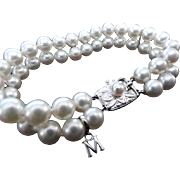 """Estate 18K Double Strand MIKIMOTO Cultured Pearl Bracelet with """"M"""" charm! White Gold!"""