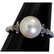 Estate Mikimoto Sterling Cultured Pearl Ring Size 7