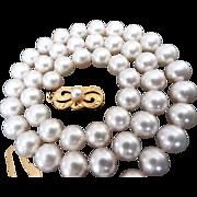 """Estate 18K Mikimoto 15 1/2""""  7 mm Cultured Pearls! Original Box & Certificate!"""