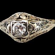 Estate Belais Brothers  18K White Gold Filigree  & .25 Carat Diamond Ring  Size 5
