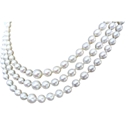 """Estate Mikimoto Triple Strand Cultured Pearl Necklace! 50+"""" Total Length!"""