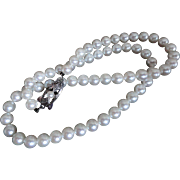 Vintage MIKIMOTO Sterling Cultured Pearl Necklace! Perfect for Graduation or Wedding!