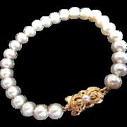 "Estate 18K MIKIMOTO Cultured Pearl Bracelet - 8.5"" Long! 7-6.5mm!"