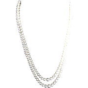 """Vintage Mikimoto Cultured Pearl Double Strand Necklace! 36"""" Total Length!"""