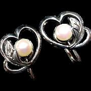 Estate Mikimoto Sterling Heart & Cultured Pearl Earrings!