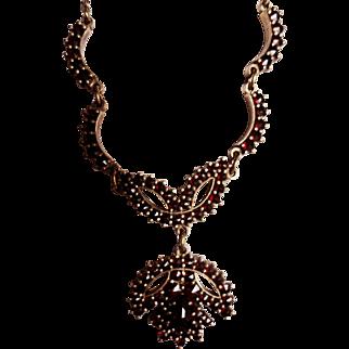 1920s Signed Bohemian Rose Cut Garnet Necklace! 900,  Rabbit's Head Marks!