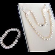 Estate Mikimoto Cultured Pearl Necklace & Bracelet Set!  18K Diamond Ball 1893 Clasp!  7.5-7.0mm! White Gold!