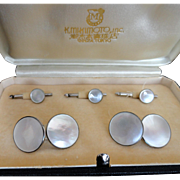 Vintage Mikimoto Etched Sterling Cuff Links & Button Tuxedo Set!