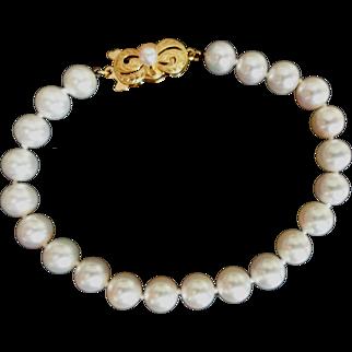 "Estate 18K MIKIMOTO Cultured Pearl Bracelet - 7.5"" Long! 7-6.5mm!"
