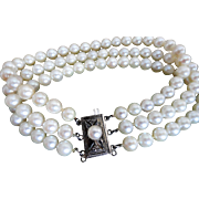 "Estate Mikimoto Cultured Pearl Triple Strand Bracelet  7"" Long!"