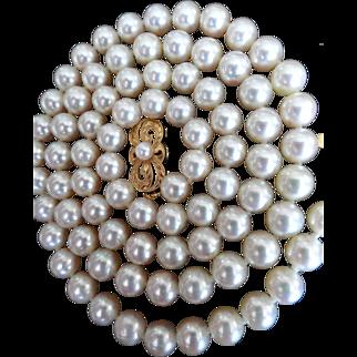 "Vintage 18K Mikimoto 22""  6.5 – 6.0 mm Cultured Pearls!  Hang Tag!"
