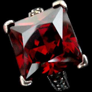 Vintage Sterling Marcasite 11 ct. Garnet Ring  Sz 7