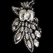 Eisenberg Original  Sterling Fur Clip  Huge Emerald-cut stones!