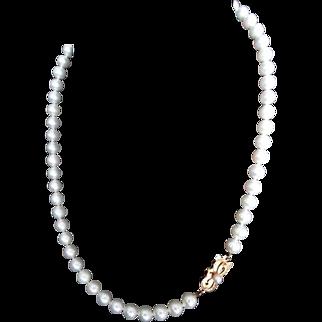 "Estate 7-6.5mm MIKIMOTO 18"" Cultured Pearl Necklace 18K Gold! A+"