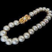 """Vintage 18K MIKIMOTO Cultured Pearl Bracelet –  7 3/8"""" Long! 6.5-6 mm!"""