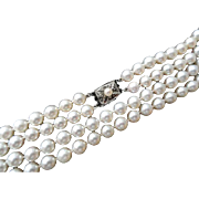 """Estate Mikimoto Cultured Pearl Double Strand Necklace! 29"""" total Length!  Samuel Kamsly, Inc."""