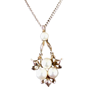 1930's Mikimoto Cultured Pearl Pendant and Necklace Chain!  Sterling silver!