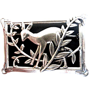 Vintage Norseland Coro Sterling Deer Brooch w Registered Patent!