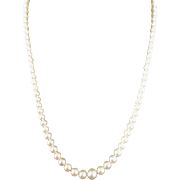 """Vintage MIKIMOTO Sterling Cultured Pearl Necklace! 18.25"""" Long 7.25 - 5mm"""