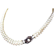 """Vintage Mikimoto Cultured Pearl Double Strand Necklace! 30"""" Total Length!"""