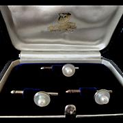 Vintage Mikimoto Sterling Button Tuxedo Set! 1930s-40s