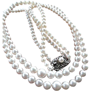 """Vintage Mikimoto Cultured Pearl Double Strand Necklace! 35.5"""" Total Length!"""