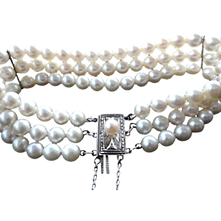 "Estate Mikimoto Cultured Pearl Triple Strand Bracelet  7.25"" Long!"