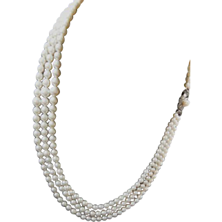 "Estate Mikimoto Triple Strand Cultured Pearl Necklace! 53+"" Total Length! 291 Pearls!"