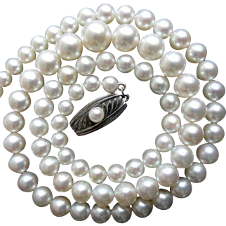 """Vintage MIKIMOTO Sterling Cultured Pearl Necklace! 18"""" Long"""